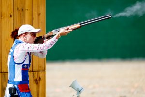 Rio de Janeiro, Brazil. August 4, 2016. Shooting Training Sessions prior the start of the Olympic Games 2016. Libuse Jahodova practising skeet. © Petr Toman/World Sports Images