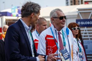 Rio de Janeiro, Brazil. August 4, 2016. President of Czech Republic during the visit of Olympic Village at the Olympic Games 2016.