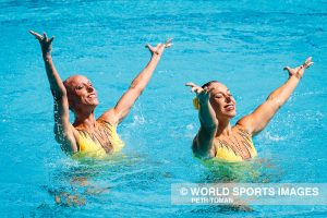 Rio de Janeiro, Brazil. August 15, 2016. SYNCHRONISED SWIMMING - DUETS TECHNICAL ROUTINE at the 2016 Summer Olympic Games in Rio De Janeiro. BERNARDOVA Sona, DUFKOVA Alzbeta © Petr Toman/World Sports Images