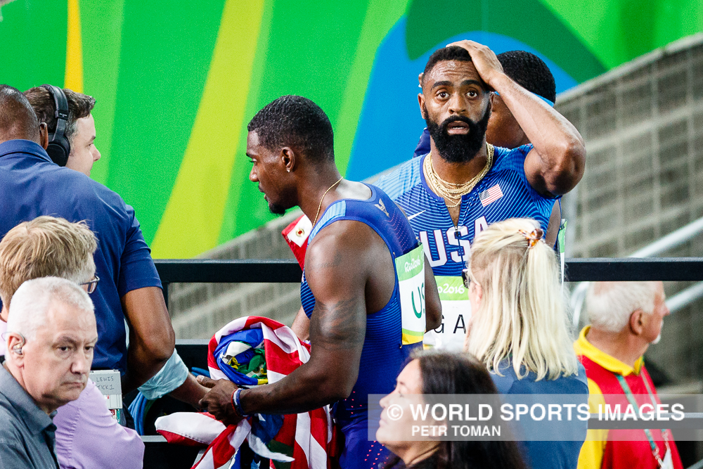 Rio de Janeiro, Brazil. August 18, 2016. ATHLETICS - Men's 4 x 100m Relay Final at the 2016 Summer Olympic Games in Rio De Janeiro. Team USA realizes they are diqualified. © Petr Toman/World Sports Images