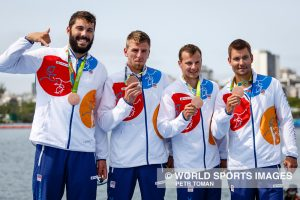 Rio de Janeiro, Brazil. August 18, 2016. Men's Kayak Four 1000m Final A at the 2016 Summer Olympic Games in Rio De Janeiro. HAVEL Daniel, TREFIL Lukas, DOSTAL Josef, STERBA Jan © Petr Toman/World Sports Images